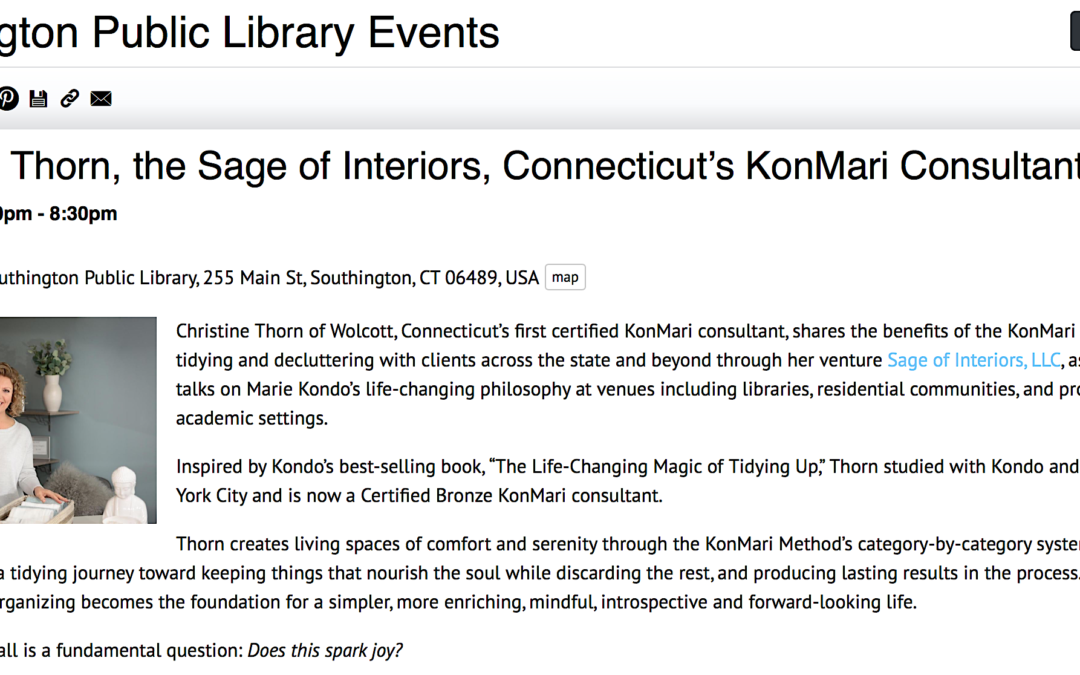 October KonMari Presentations by Christine Thorn in Connecticut