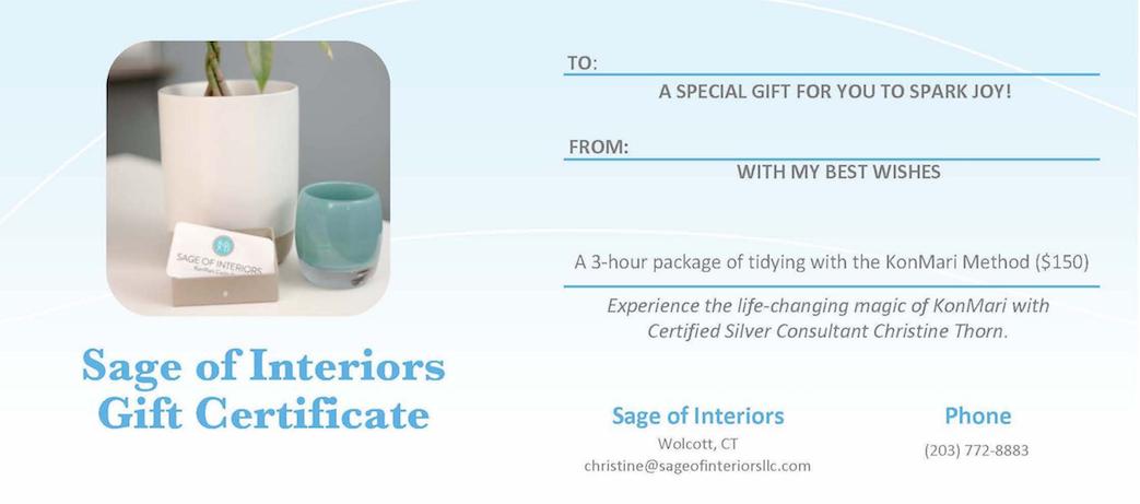 KonMari gift certificate, Sage of Interiors