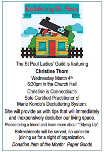 A poster for KonMari Consultant Christine Thorn's presentation for the St. Paul Ladies' Guild in Berlin/Kensington Connecticut.