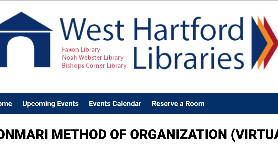 KonMari Online Presentation With the West Hartford Library