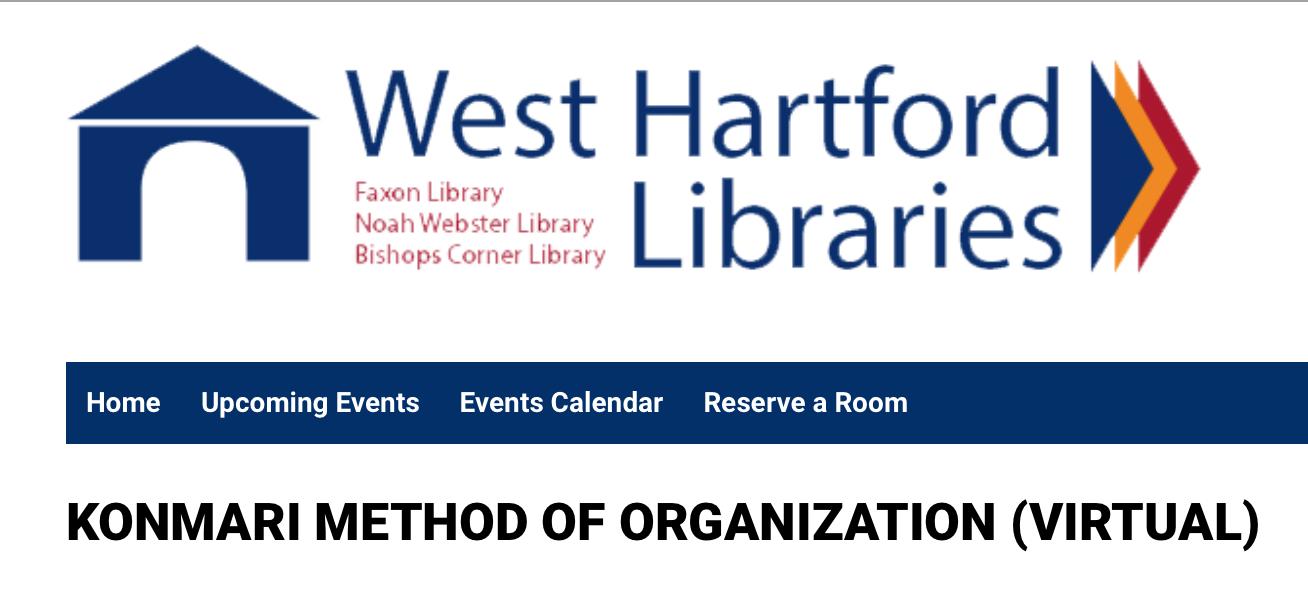KonMari presentations, West Hartford Library, Bristol Public Library