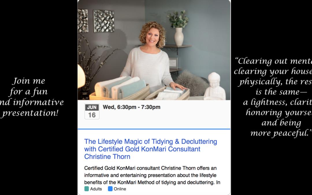 Hamden Library Hosting Christine Thorn for 6/16 Decluttering Talk